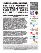Livrer la marchandise, tel que promis : Réformer le régime canadien d'accès aux médicaments - Mémoire du GAMT à l'intention du Gouvernement du Canada