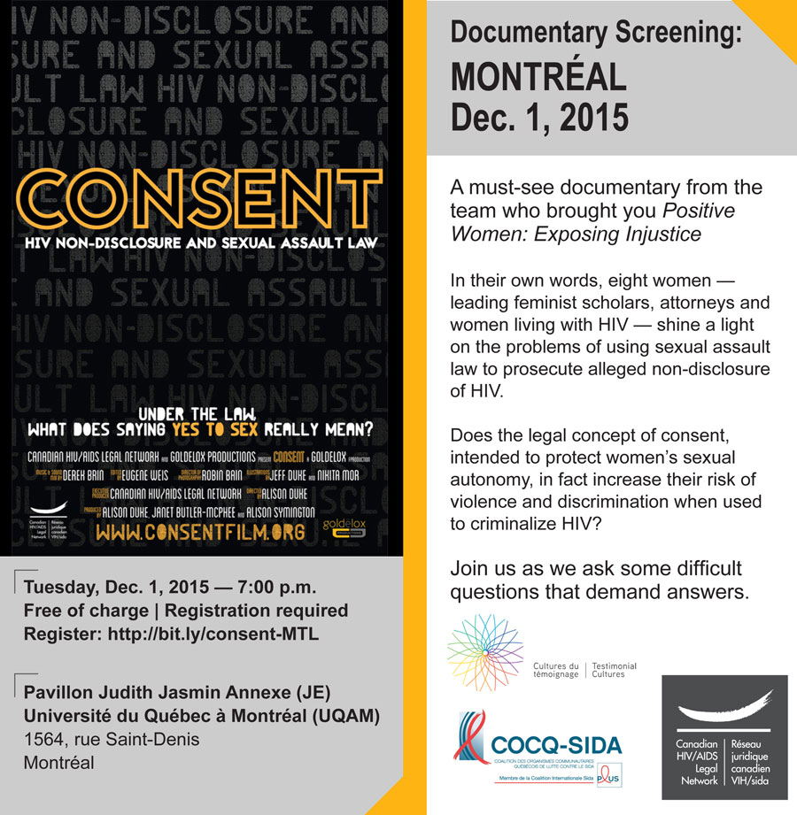 Flyer for Montréal screening of Consent