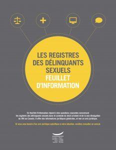 Les registres des délinquants sexuels : feuillet d'information